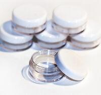 25 x 10ml PLASTICA CAMPIONE BARATTOLI/CONTENITORI Glitter/Cosmetico/Crema jfw25