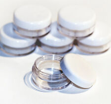 50 x 10ml CLEAR PLASTIC SAMPLE JARS/POTS Glitter/Cosmetic/Cream jfw50