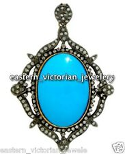Turquoise Studded Silver Pendant Jewelry Victorian Style 2.96Ct Rose Cut Diamond