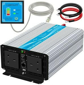 Carrybatt 24V DC to 240V AC Pure Sine Wave Inverter UK Type G Plug 1500W/3000W