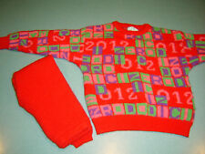 Benetton Wool 2 PC Childrens Red Sweater Set Size Medium W/ Pants size sml