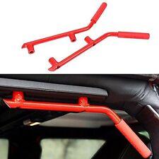 2Pcs Red Solid Steel Rear Grab Handles GraBars For 2007-2017 Jeep Wrangler 4Door