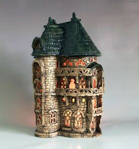 Ceramic candle holder home decor fixture castle handmade clay lamp fixture torch