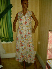 Vintage clothes dress FLORAL sleeveless fitted LONG 80s 1980's B=38 L sweep=84