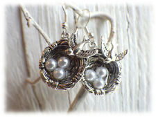 Ohrringe three egg's nest  - Ohrhänger im Vintage Stil bird Vogel silberfarben