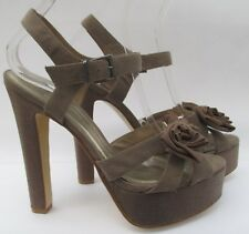 Faith size 8 (41) taupe grey  very high heel platform sandals with bows