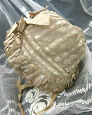 19th Century Antique Lace & Silk Ribbon Baby Bonnet