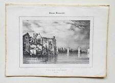 Lithographie XIXème - Vue de Langon - Mlle B. Laroque - Chauve