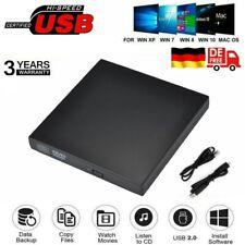 USB Externes DVD Laufwerk Brenner Slim CD DVD-RW Brenner für PC Laptop Mac NEU