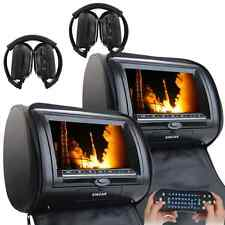 "Black 2x HDMI Car Video Headrest Pillow Monitor 7"" Active LCD CD DVD Player Game"