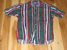 VINTAGE TOMMY HILFIGER RED GREEN BOLD BRIGHT STRIPE SHIRT MED M