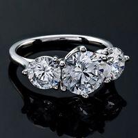 Three Stone 1.32 Carat SI1/D Round Certified Diamond Engagement Ring White Gold