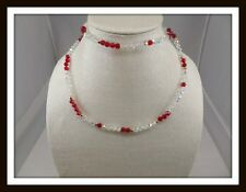 Vintage MONET Aurora Borealis Crystal & Faceted Red Acrylic Bead Necklace #3561