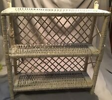 White Wicker 3 Tier Shelf Shelves Wall Display Storage Rattan Hanging