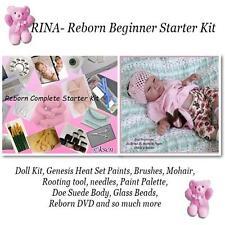 Reborn baby RINA Complete Starter Beginner Kit, Genesis paints, Mohair, Doll KIT