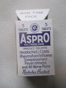 VINTAGE ASPRO WAR TIME PACK- MINT CONDITION- 1939-1945