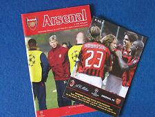 Arsenal v AC Milan - 2007/08 Champions League - Home & Away Programmes