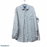 Banana Republic Men's Camden Fit Floral Linen Long Sleeve Button Up Shirt Sz L