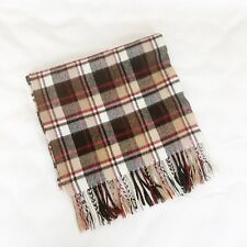 D & Y Softer than Cashmere Plaid Scarf Tan Red Brown Fringe