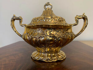 Gorham Sterling Silver Sugar Bowl CHANTILLY GRAND - GOLD WASH - Rear HAND CHASED