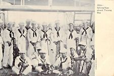 UNITED STATES SAILORS-SPLICING ROPE ABOARD TRAINING SHIP~MILITARY POSTCARD 1908