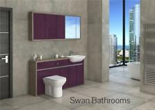Driftwood / Aubergine Gloss Bathroom Fitted Furniture With Wall Units 1650Mm