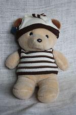 Vtg APPLAUSE Wallace Berrie Yoshitoku Bear Plush Stuffed Animal Knit Hat Shirt