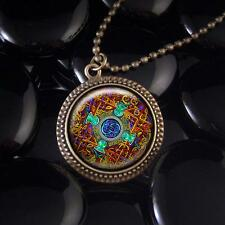 Colorful Celtic Stained Glass Knot Design Antique Bronze Irish Pendant Necklace