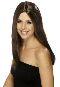 Ladies Long Length 44cm Long Brown Straight Synthetic Fancy Dress Character Wig