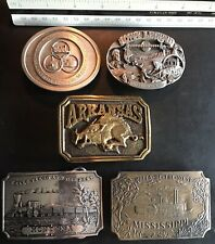 -Some Solid Brass State Themed Belt Buckles