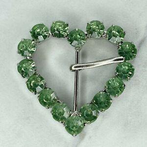 Silver Tone Green Rhinestone Heart Shaped Belt Buckle