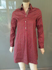 ETRO Bluse Kleid Rot Grau Kariert 32/34 Bluse Seide Silk Shirt Dress Red XXS Top