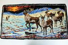 Vintage P&C Italian Woven Velvet Caribou Tapestry Wall Hanging Size 38in x 19in