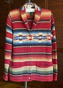 RALPH LAUREN Sweater Cardigan Southwestern Aztec Multicolor Size PM Pre-owned