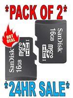 2 Pack SanDisk Class 4 16GB MicroSD Micro SD SDHC TF Flash Memory Card 16 GB G