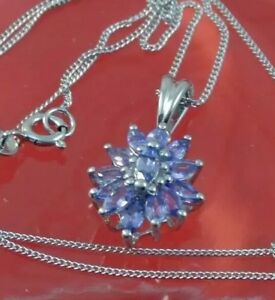 """""""LOOK"""" TANZANITE CLUSTER PENDENT PLATINUM OVER STERLING SILVER WITH 20"""" CHAIN"""