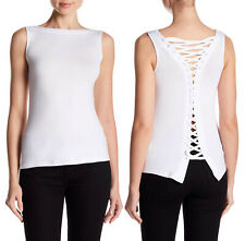 $148 New Bailey 44 Women's Lace-Up Back Sleeveless Tank Top White Size S
