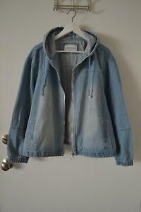 New Women's Denim Zipped Jacket Hooded Jean Coat Plus Size 2X
