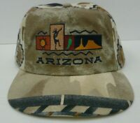 Arizona Souvenir Hat Cap Adjustable Southwestern Aztec Embroidered Brown Blue