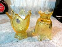 Lot of (2) Fenton Glass Leaf Pattern Votives, Buttercup Yellow Color, new in box