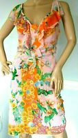 Gianni Versace 2004 Floral Ruffle Bird Tropical Orchid Silk Dress US 4 6 / IT 42