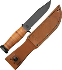 Ka-Bar Mark 1 Black 1095 Cro-Van Steel Fixed Knife w/ Leather Belt Sheath 2225