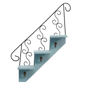 Stair Wall Hanging Hooks Indoor Decoration High-quality Wood Wrought Iron Shelf