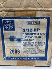 GE Electric Motor 5KSP29BK9010T 1/12 HP 1500 RPM 3-speed 4.05 Amp 115V
