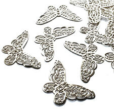5 x Small Silver Gold Filigree Butterflies Embellishment Metal Wings Card Craft