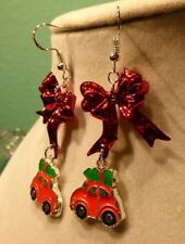 VW Beatle Car 925 EARRINGS CHRISTMAS BOW SEASONAL HOLIDAY Nora's Handcrafted USA