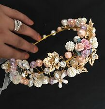 Bridesmaid Bridal Crystal Pearl Pink & White Multicolour Rose Hair Vine Tiara
