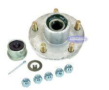 Galvanized Trailer Hub Kit 2200lb 5 Lug Pre Greased Bearings Dust Cap Lug Nuts