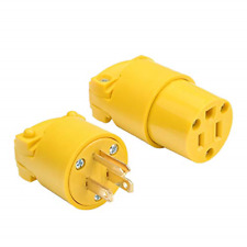 STARELO Electrical Replacement Plug & Connector Set Extension Cord Ends Yellow &