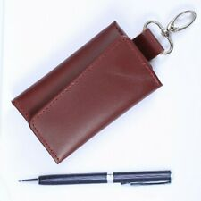Leather Key Case Pouch Wallet Keychain Key Holder Ring with 6 Hooks Snap Closure